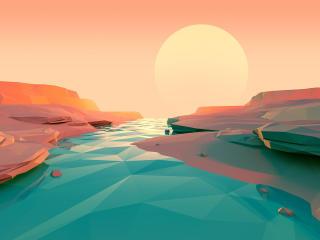 Polygon Lake Sunset wallpaper