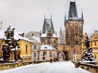 prague, czech republic, winter wallpaper