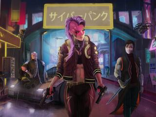 Purple Hair Cyberpunk Girl  5K wallpaper