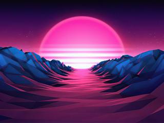 Purple Sunrise 4K Vaporwave wallpaper