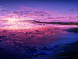 Purple Sunset Reflected in the Ocean wallpaper