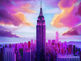 Purple Tall Buildings Minimal wallpaper