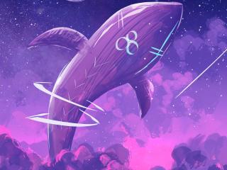 Purple Whale Away 4K HD Vaporwave wallpaper
