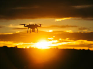 quadrocopter, sunset, sky wallpaper