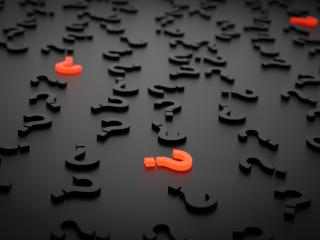 question marks, figures, 3d wallpaper