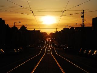 Railway Line And Sunset wallpaper