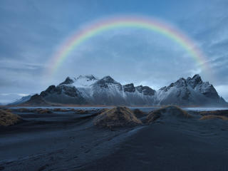 Rainbow Over Snowy Mountain wallpaper