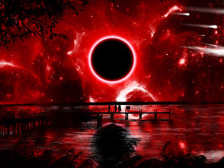 Red Eclipse Digital Art wallpaper