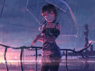 Red Eye Anime Girl wallpaper
