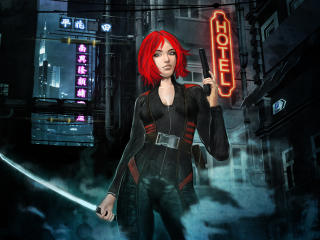 Red Hair Cyberpunk Girl wallpaper