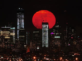 Red Moon Over City wallpaper