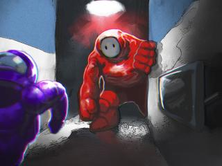 Red vs Blue Crewmate Among Us wallpaper