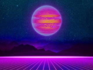 Retro Striped Planet wallpaper