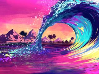 Retro Wave Ocean wallpaper