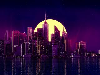 Retro Wave Purple Skyscraper City wallpaper
