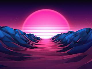 Retro Wave Sunrise Path wallpaper