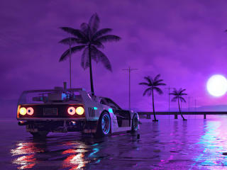 Retro Wave Sunset and Running Car wallpaper