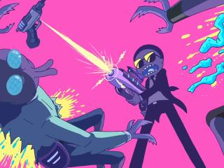 Rick and Morty Fighting WIth Aliens wallpaper