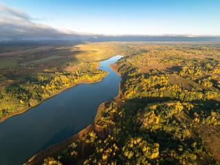 River Aerial Landscape HD View wallpaper