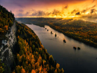 River And Forest Sunset Drone View wallpaper