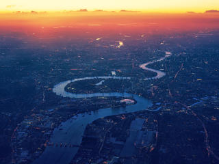 River Thames London Aerial View wallpaper