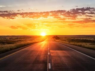 road, sunset, marking wallpaper
