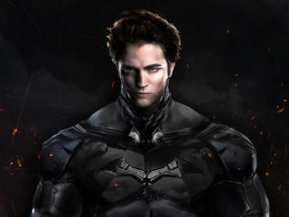 Robert Pattinson Batman Costume Art wallpaper