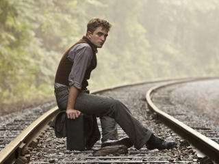 robert pattinson on rail track  wallpaper