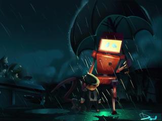 Robot and Child Friendship wallpaper