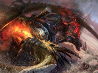 robot, dragon, battle wallpaper