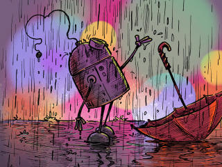 Robot Rain Illustration wallpaper