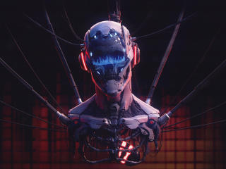 Robot Skull Playing Music wallpaper