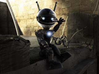 robot, white, black wallpaper
