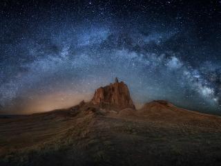 Rock Landscape at Milky Way Night wallpaper