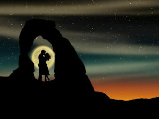 Romantic Kiss Over Moon wallpaper