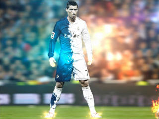 Ronaldo Standing and Fire Shot wallpaper