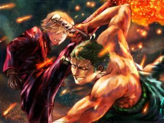 Roronoa Zoro vs Sanji One Piece wallpaper