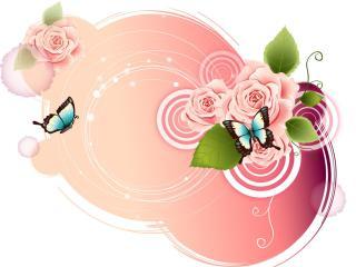 rose, butterfly, patterns wallpaper