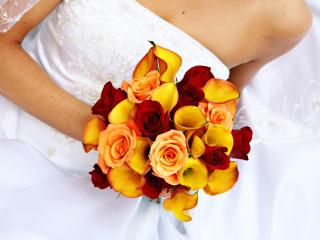 roses, calla lilies, bridal bouquet wallpaper