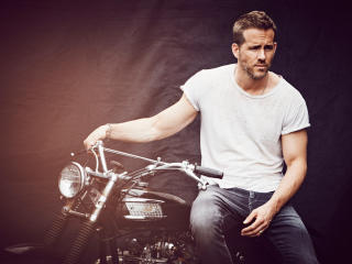 ryan reynolds, actor, motorcycle wallpaper