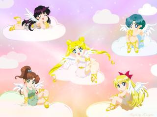 sailor moon, girls, clouds wallpaper