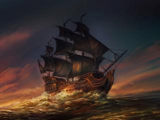 Sails Ship In Ocean wallpaper