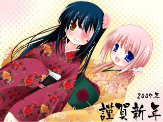 sakura musubi, girls, kimono wallpaper