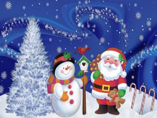 HD Wallpaper | Background Image santa claus, snowman, christmas