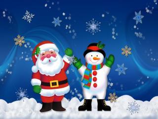santa claus, snowman, holiday wallpaper