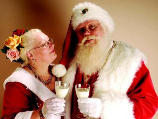 santa claus, wife, couple wallpaper