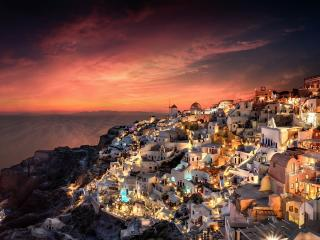 Santorini at Night wallpaper