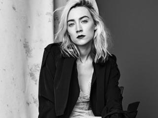 Saoirse Ronan Black And White Portrait wallpaper