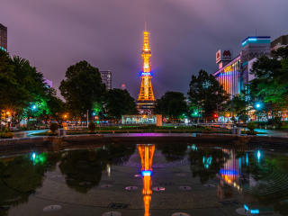 Sapporo Japan at Night wallpaper