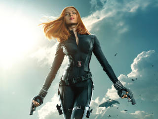 Scarlett Johansson in Captain America wallpaper